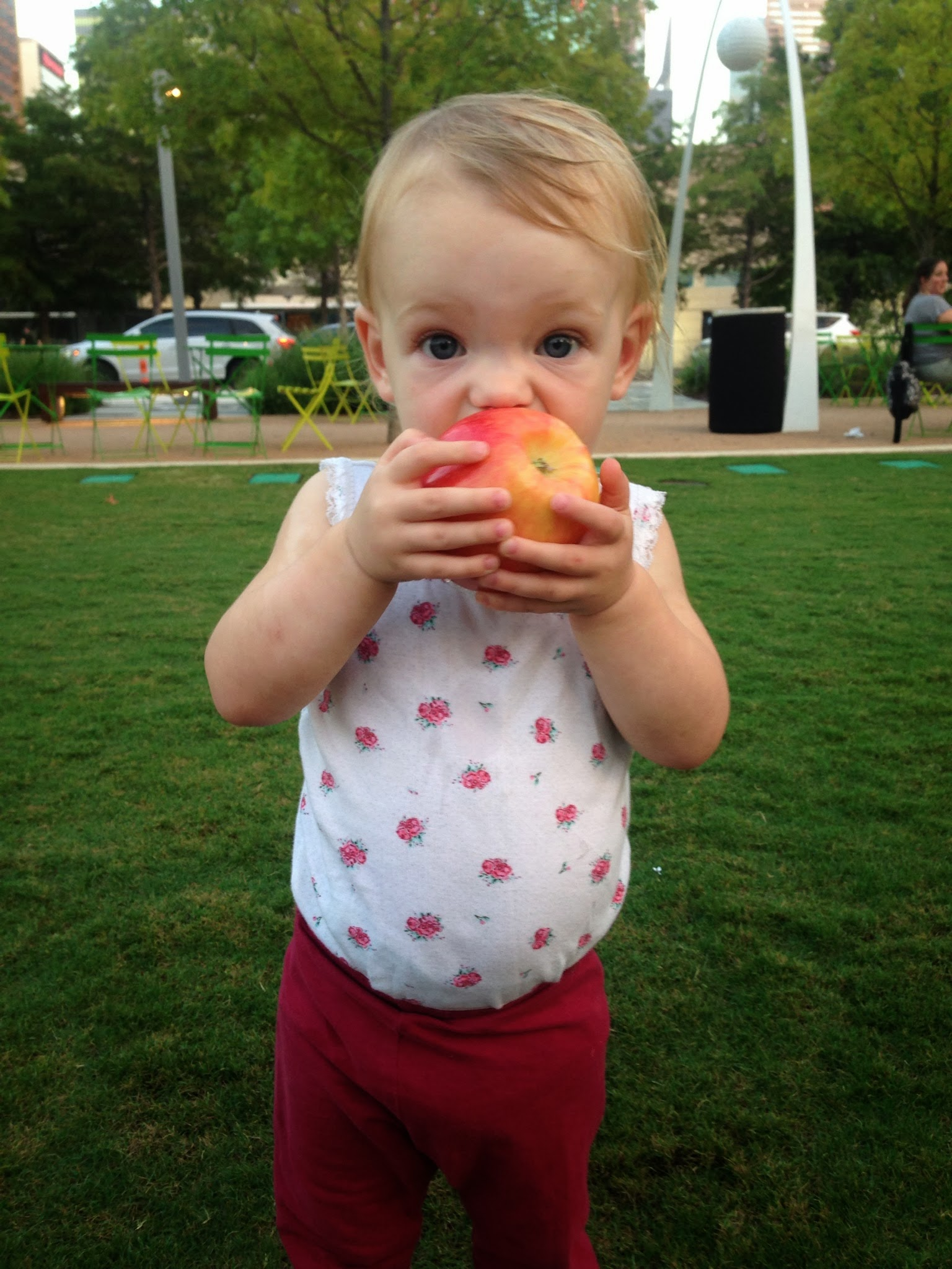 Snacking at Klyde Warren Park